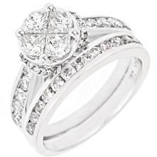 2.00 CT. T.W. Seri Diamond Ring Set in 14K White Gold (H-I, I1)