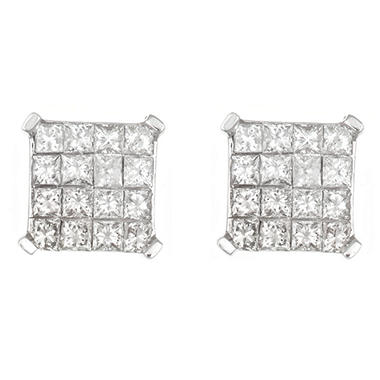 1.0 ct. t.w. Invisible Set Princess Diamond Earrings in 14K White Gold (H-I, I1)