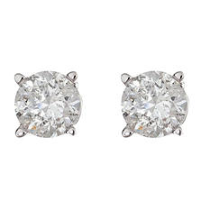 0.47 CT. T.W. Round Diamond Studs in 14K White Gold (I, I1)