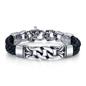 Spartan Links Black Leather Bracelet
