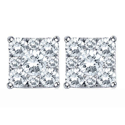 1.00 CT. T.W. Unity Diamond Earrings set in 14K White Gold (I, I1)