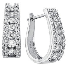 "1.50 CT. T.W. Double Row ""J"" Hoop Diamond Earrings in 14K White Gold (IGI Appraisal Value: $2,015)"