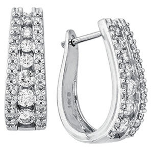 "1.50 CT. T.W. Double Row ""J"" Hoop Diamond Earrings in 14K White Gold (I, I1)"