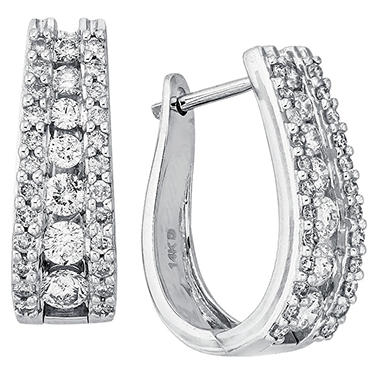 "1.48 CT. T.W. Double Row ""J"" Hoop Diamond Earrings in 14K White Gold (I, I1)"