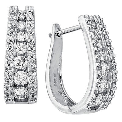 """1.48 CT. T.W. Double Row """"J"""" Hoop Diamond Earrings in 14K White Gold (I, I1)"""