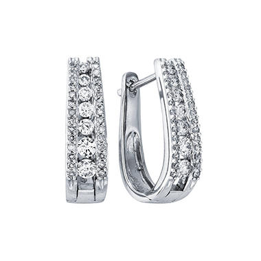 "1.0 ct. t.w. Double Row ""J"" Hoop Diamond Earrings in 14K White Gold (I, I1)"