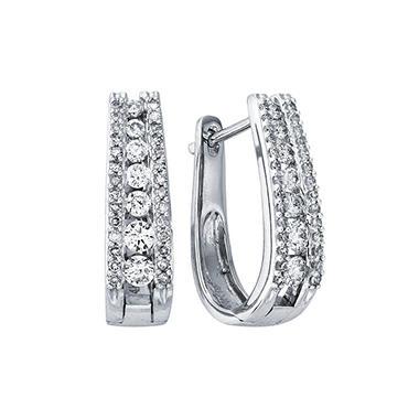 """1.0 ct. t.w. Double Row """"J"""" Hoop Diamond Earrings in 14K White Gold (I, I1)"""