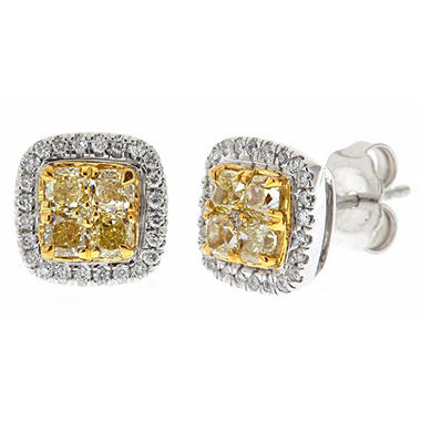 1.00 CT. T.W. Natural Light Yellow Cushion and Round White Diamond Stud Earrings in 14K Two-Tone Gold H-I, I1 (IGI Appraisal Value: $1,895)