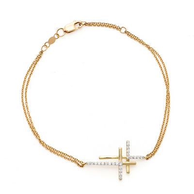 0.15 CT. T.W. Diamond Double Cross Bracelet in 14K Yellow Gold