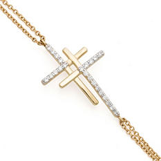 0.15 CT. T.W. Diamond Double Cross Bracelet in 14K Yellow Gold