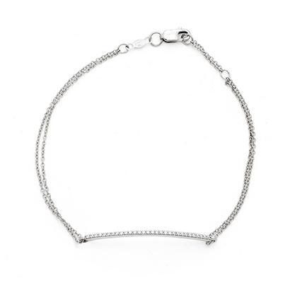 0.15 CT. T.W. Diamond Straight Line Bracelet in 14K White Gold