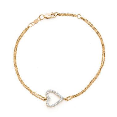 0.15 CT. T.W. Diamond Sideways Heart Bracelet in 14K Yellow Gold
