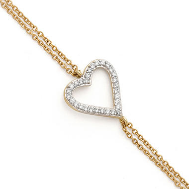 0.15 CT. T.W. Diamond Sideways Heart Bracelet in 14K Yellow Gold