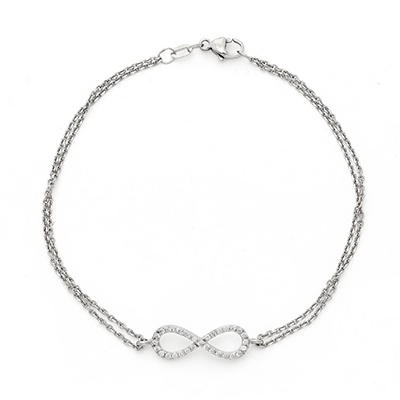 0.15 CT. T.W. Diamond Infinity Bracelet in 14K White Gold