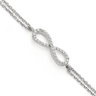 0 15 ct t w infinity bracelet in 14k white gold
