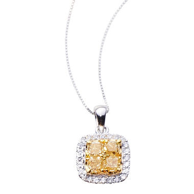 1.00 CT. T.W. Yellow and White Diamond Pendant LY & H-I, I1 (IGI Appraisal Value: $1,845)