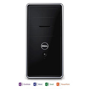 Dell i3847-3078BK Inspiron 3000 Desktop Computer. Intel Pentium G3220, 4GB Memory, 1TB Hard Drive  with Microsoft Office Home and Student 2013