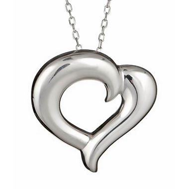 """Just the Two of Us"" Sterling Silver Medium Heart Pendant"