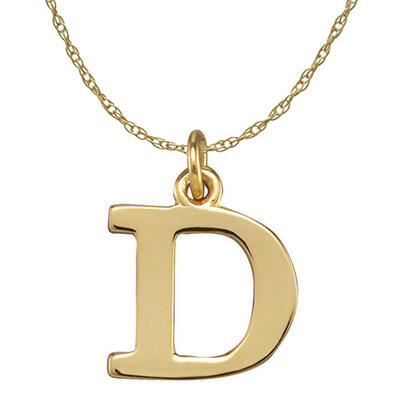 14k Gold Block Letter Initial Necklace
