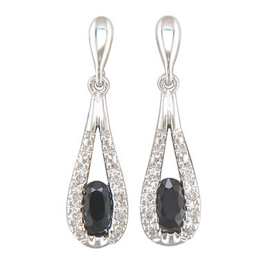 0.24 ct. Sapphire and Diamond Accent Earrings in 14k White Gold