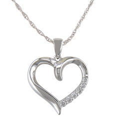 0.12 ct. t.w. Diamond Heart Pendant in 14k White Gold (H-I, I1)