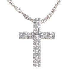 0.50 ct. t.w. Diamond Double Cross Pendant in 14k White Gold (H-I, I1)