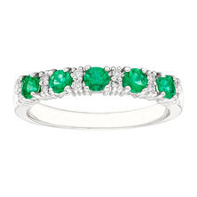 Emerald and Diamond Accent Ring in 14K White Gold