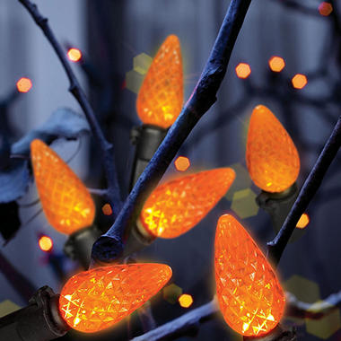 100ct LED Diamond Cut Halloween Lights - Orange