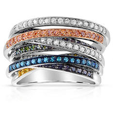 Multi-Color Diamond Ring in Sterling Silver