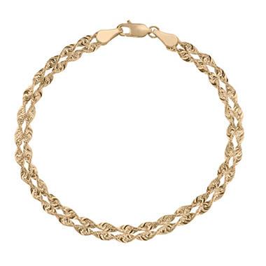 Royale Gold 14K Yellow Gold Light Rope Chain Bracelet 7.5