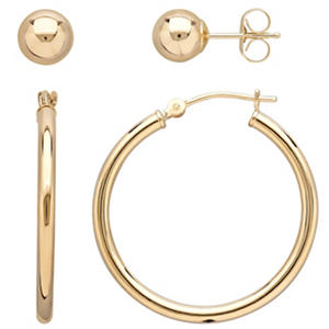 Royale Gold 14K Yellow Gold 6MM Ball & 25MM Hoop Earrings Set
