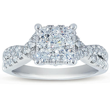 1.25 CT. T.W. Unity Diamond Bridal Ring in 14K White Gold (I, I1)