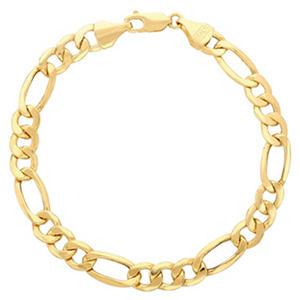 "Royale Gold 14K Yellow Gold 9"" Figaro Chain Bracelet"