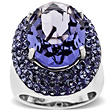 Purple Swarovski Crystal Ring in Sterling Silver