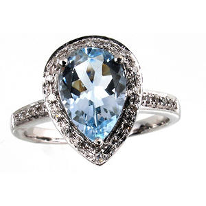 1.40 ct. Pear-Shaped Aquamarine Ring with Diamonds in 14k White Gold (G-H,I1)