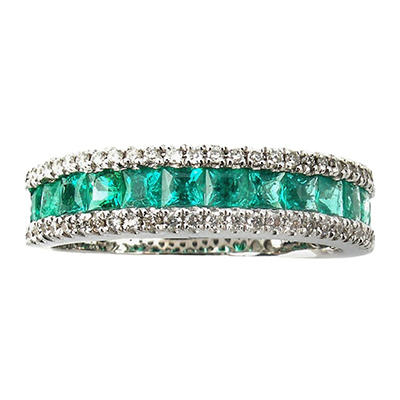 0.50 ct. Princess Emerald Ring with Diamonds in 14k White Gold
