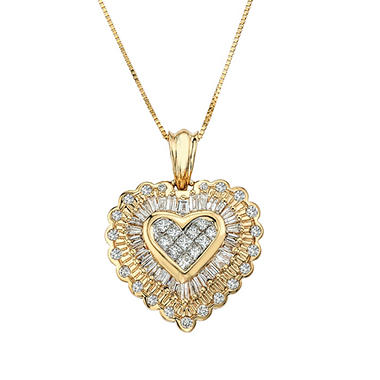 .98 ct. t.w. Diamond Heart Pendant in 14k Yellow Gold
