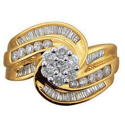 1.25 ct. t.w. Diamond Swirl Ring in 14k Yellow Gold