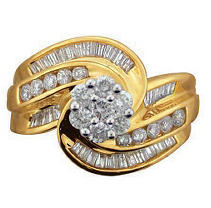 Click here for 1.25ctw Diamond Swirl Ring in 14k Yellow Gold prices