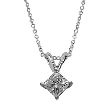 0.10 ct.  Princess-Cut Diamond Solitaire Pendant 18K (I, SI2)