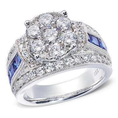 1.95 CT. T.W. Diamond and Sapphire Bridal Ring in 14K White or Yellow Gold I, I1 (IGI Appraisal Value: $2,645)