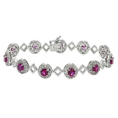 Created Ruby and Created White Sapphire Bracelet in Sterling Silver