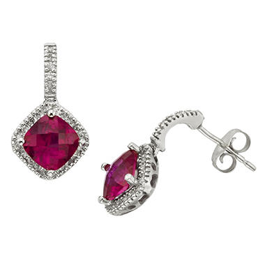 2.32 ct. Created Ruby and .20 ct. t.w. Diamond Earrings in 14k White Gold