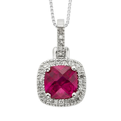 1.91 ct. Cushion Cut Created Ruby and .145 ct. t.w. Diamond Pendant in 14k White Gold