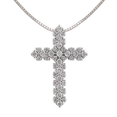 0.75 ct. t.w. Diamond Cross Pendant in 14K White Gold