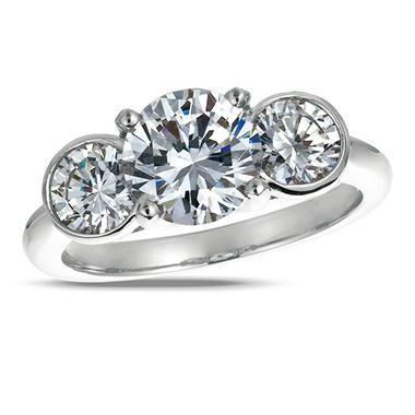 3.00 ct. t.w. Round-Cut Diamond 3-Stone Ring 18K White Gold (I, SI2)