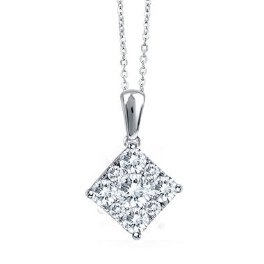 0.50 CT. T.W. Unity Diamond Square Pendant in 14K White Gold (I, I1)