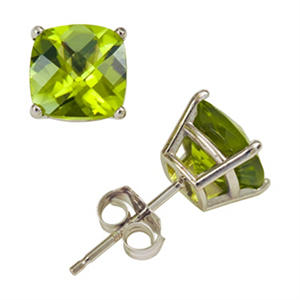 3.8 ct. t.w. Cushion Cut Peridot Stud Earrings in 14K White Gold