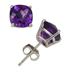 3.8 ct. t.w. Cushion Cut Amethyst Stud Earrings in 14K White Gold