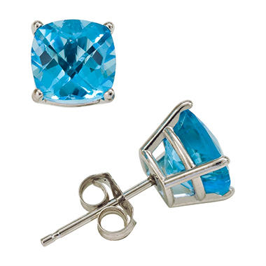 4.5 ct. t.w. Cushion Cut Swiss Blue Topaz Stud Earrings in 14K White Gold